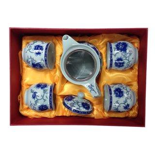 Dowan Teeset 5tlg. Blumendekor blau ***