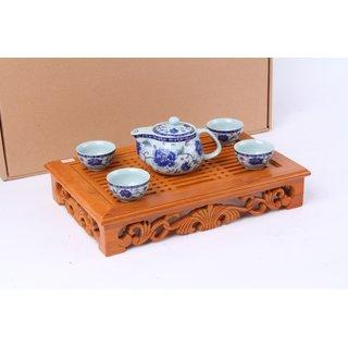 Kungfu Teeset  5tlg. Blumen, blau