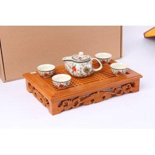 Kungfu Teeset  5tlg. Blumen, weiß bunt
