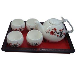 5tlg. Chinesisches Teeset mit Serviertablett
