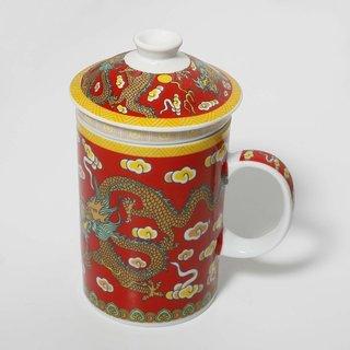 Teetasse & Sieb Drache Rot