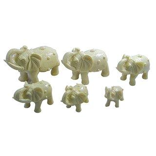 Elefantenfamilie weiß, 6tlg.