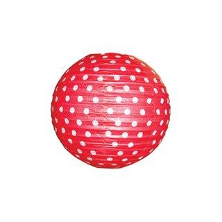 """Papierlampion """"Rot mit weißen Punkten"""""""