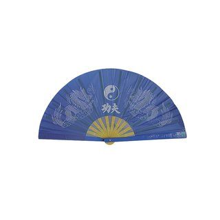 "Taichi-Fächer blau ""Drache / YinYang"""