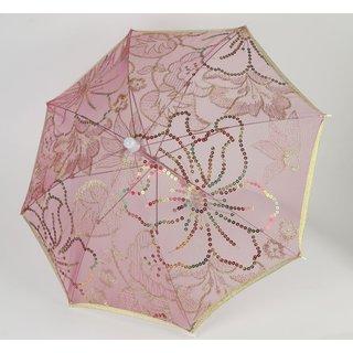 Deko Schirm pink mit Pailletten, ca. 70cm