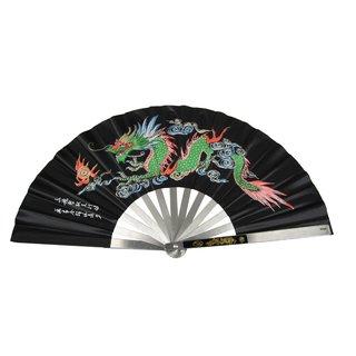 Tai Chi Fächer Stahlstreben Drachen Motiv schwarz