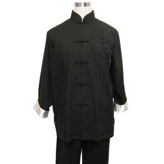 Tai Chi Anzug in Leinenoptik, schwarz