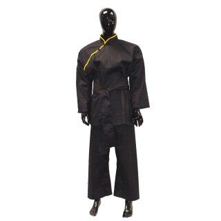 Kung Fu Anzug, schwarz mit gelben Band