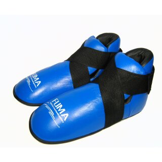 Echtleder Karate Fußschutz blau