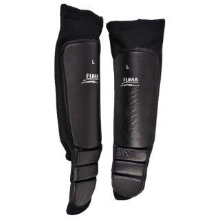 Schienbeinschutz Spannschutz mit Leder schwarz - B-Ware