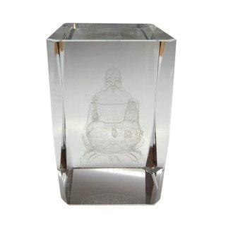 Glasobjekt mit Buddhafigur 3D
