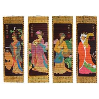 """4er Bilderset - Bambusbilder """"Geisha"""""""