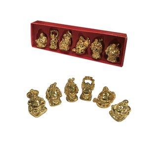 Buddhaset, 6cm goldfarben, 6tlg.