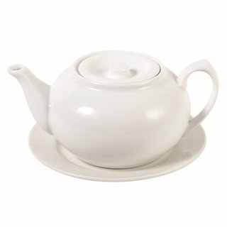 uni weiß Teekanne & Unterteller 3Pers.