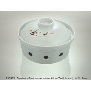 Vint. grün Serviertopf Warmhalterfunktion (Teelicht) ca.21x9cm