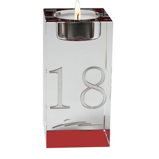Kristall-Teelichthalter mit Tischnr. ca. 6x12cm