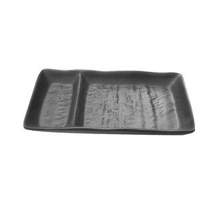 Tok. Teller Melamin schwarz 2-Fach ca.17,7x9,3x2,2cm