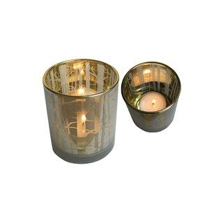 Teelichthalter Glas Bambus 12er gr.