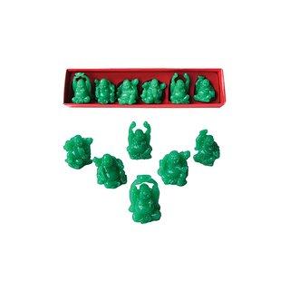 Buddhaset-Kunststein jadefarben, 6er Set