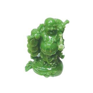 Glücksbuddha aus Kunstharz, jadefarben